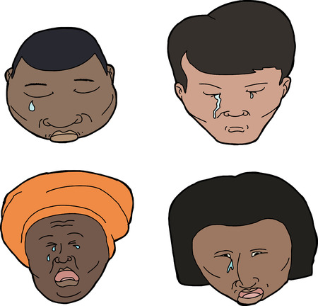 miserable: Set of African, Asian and Hispanic people crying