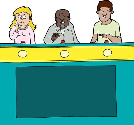 kwis: Drie diverse spelshow deelnemers op geïsoleerde achtergrond Stock Illustratie