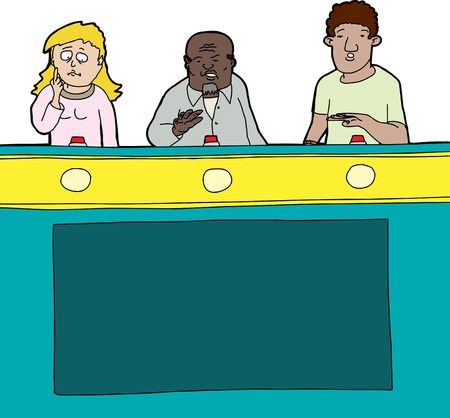 Three diverse game show contestants on isolated background Illustration