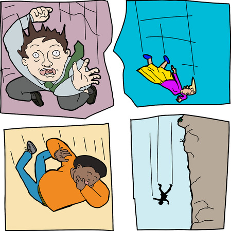 Cartoons of scared men and women falling down Vector