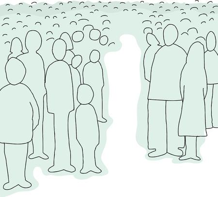 Cartoon achtergrond van abstracte mensen staan