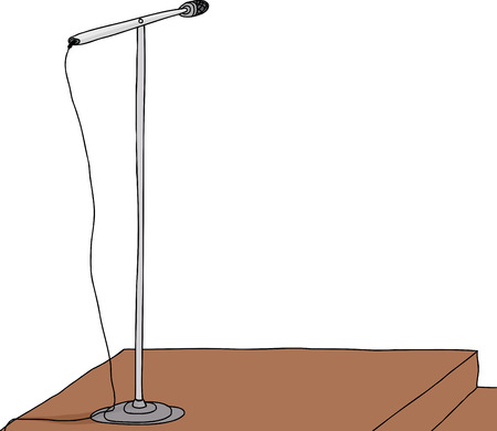 Isolated microphone stand on wooden speaker stand Vector