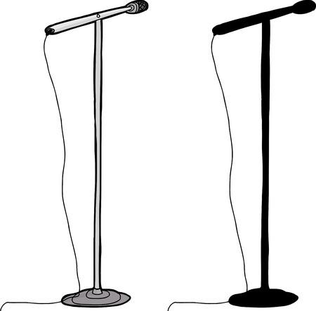 Cartoon and silhouette microphone stand over white background Ilustração