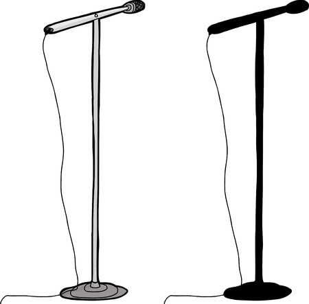 Cartoon and silhouette microphone stand over white background Stock Illustratie