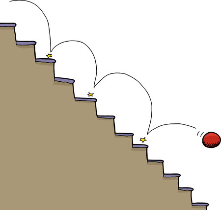 Bouncing red ball falling down staircase over white background Illustration