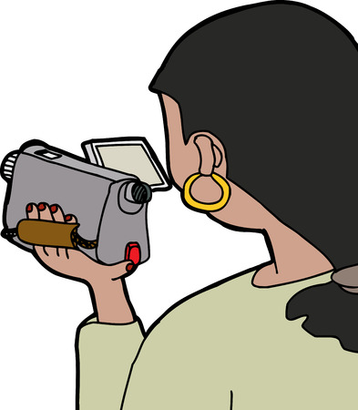Over the shoulder view of woman using camcorder Vector