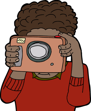 Isolated young adult using point and shoot camera Vector