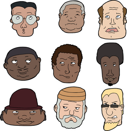 skeptical: Set of diverse men looking up over white background