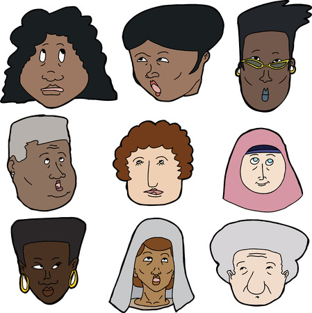 Diverse set of women looking up over white background Vector