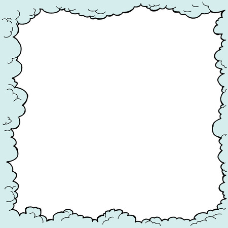 puffy: Hand drawn cloudy border with white copy space