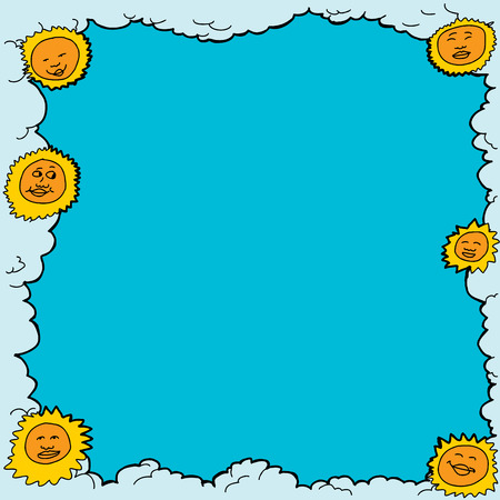 Hand drawn smiling suns with cloudy border Vector