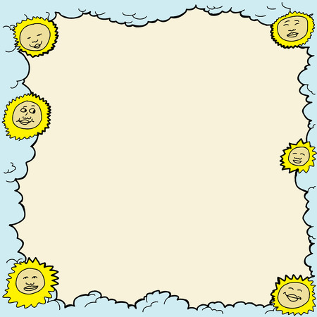 blank space: Smiling sun and clouds frame with blank space Illustration