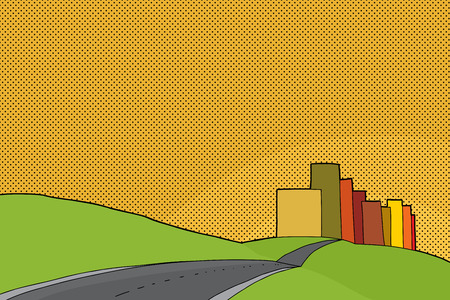 rural road: Cartoon of city limits with hills and sunset Illustration