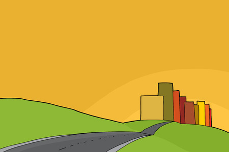 rural scene: Cartoon of city and rural meadows background Illustration