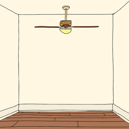 floorboards: Empty square room with blank walls illustration