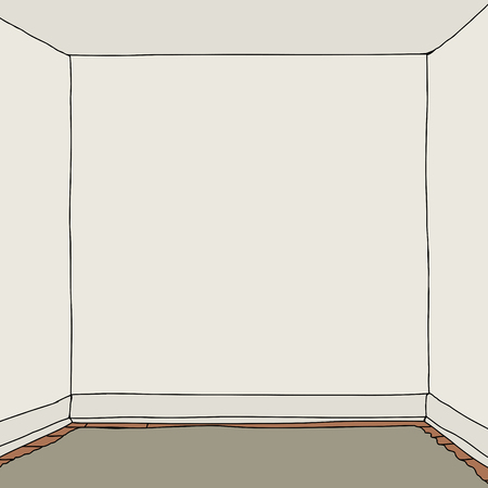 空白の壁の図と空の正方形の部屋  イラスト・ベクター素材