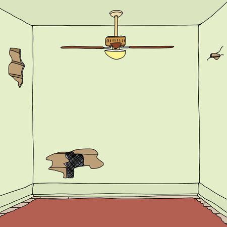 Empty square room with damaged walls and carpet Vector