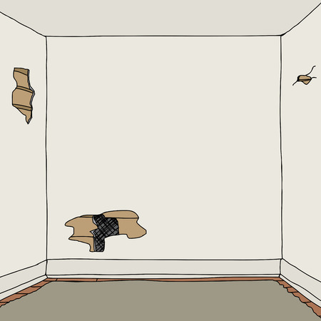 deteriorated: Shabby old room with cracked walls and hole Illustration