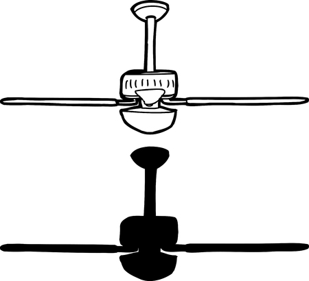 fan ceiling: Black and white drawing of ceiling fan