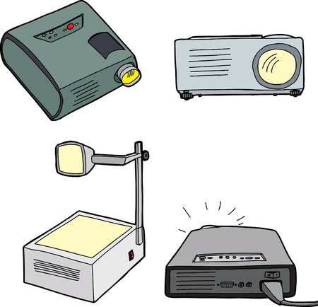 Various overhead and digital projectors over white background Illustration