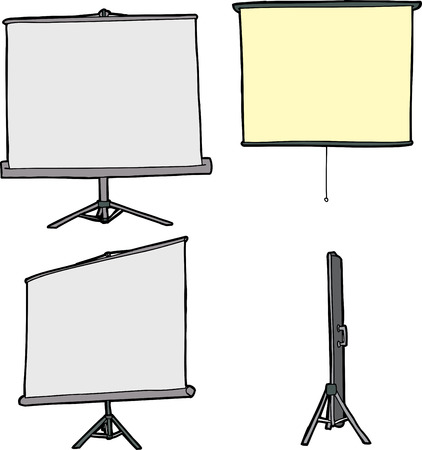 close out: Cartoons of various projector screens on isolated background