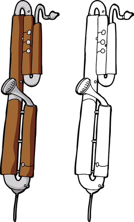 woodwind: Hand drawn contrabassoon reed instrument over white Illustration