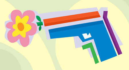 anti war: Abstract flower inside of a handgun illustration