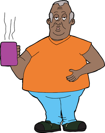 pot belly: Tired middle aged man holding cup of coffee