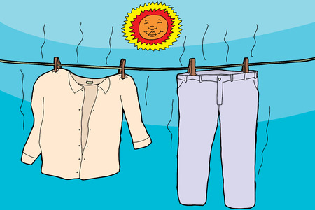 Damp clothes on clothesline drying under smiling sun