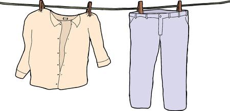 wet shirt: Pants and shirt on clothesline drying on white background Illustration