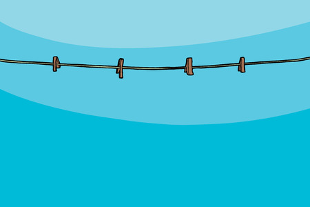 Clothesline with clothespins on blue sky background