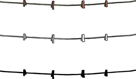 洗濯はさみと分離の白い背景の上のロープ