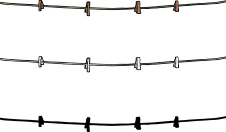 Clothespins and rope over isolated white background