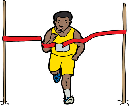 Long distance runner crossing the finish line ribbon Vector