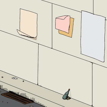 Background of street with litter and blank posters on wall Illustration
