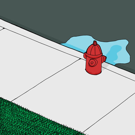 fire plug: Background with leaky fire hydrant on sidewalk Illustration
