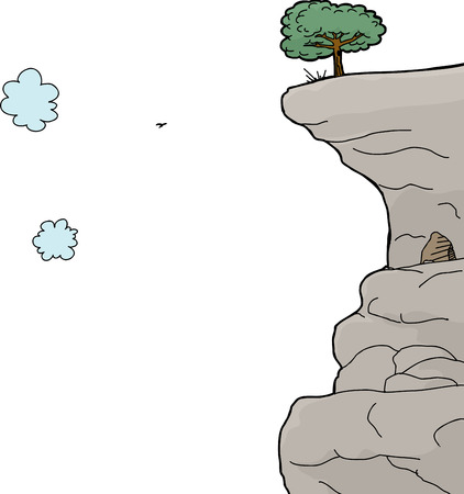 cliff edge: Scenic cliff on mountain over isolated white background Illustration