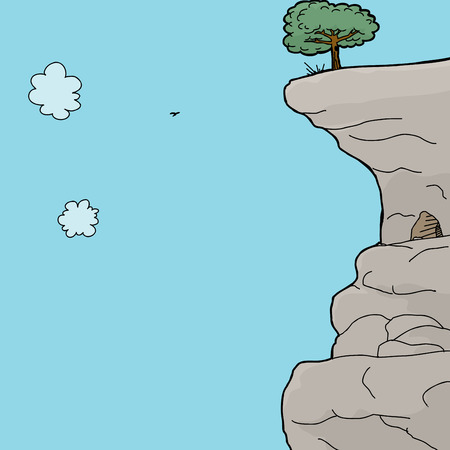 Cartoon of cave and tree on rock ledge