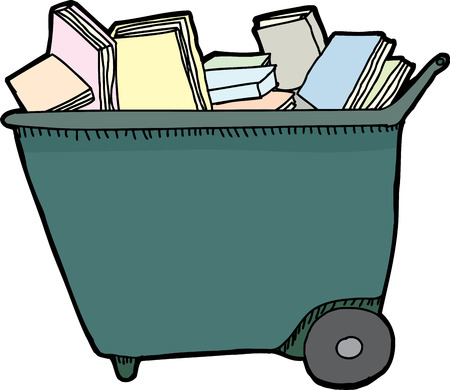 Isolated library cart with pile of books over white background