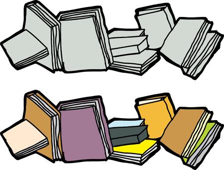 孤立した白い背景の上に空白の本のグループ