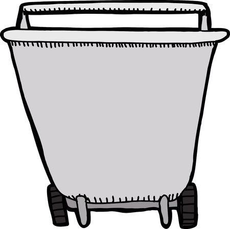 Front view of wheel barrel on isolated background