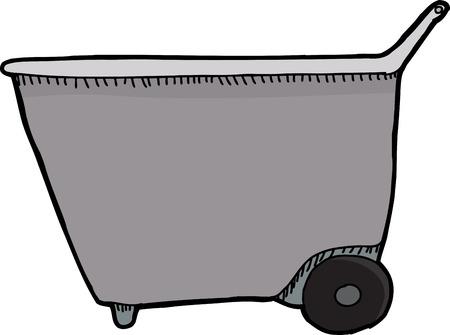 Side view of empty wheel barrel on white background Иллюстрация