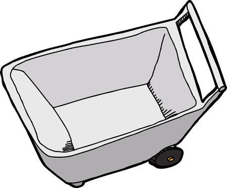 Top view of empty wheel barrel on white background Иллюстрация