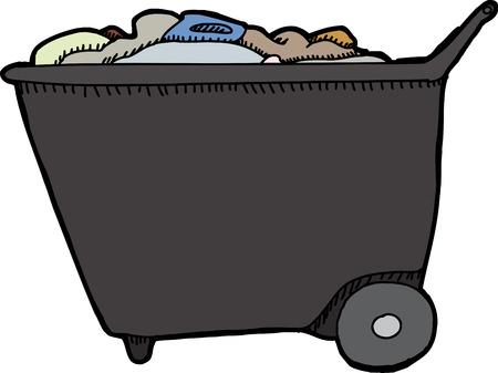 push cart: One generic isolated push cart with trash Illustration