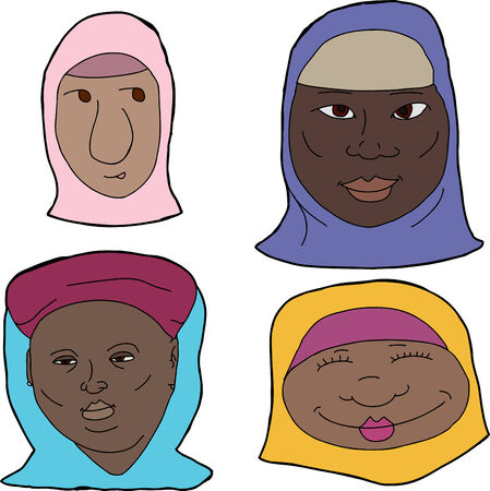 Cartoons of various African Muslim women on white background Vector