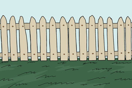 Old wooden fence and grass cartoon background Illustration