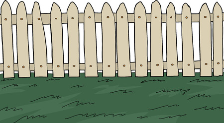 white picket fence: Picket fence with green grass over white background Illustration