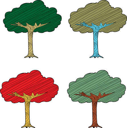 Set of four seasonal abstract trees on white background