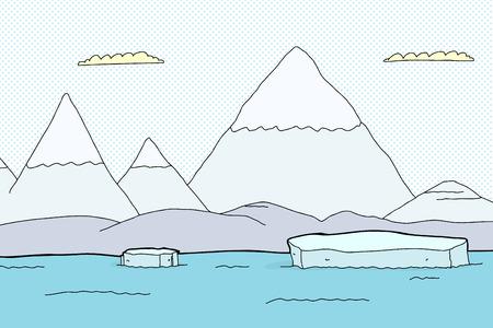 Arctische landschap met bergen en drijvende ijsberg stukken