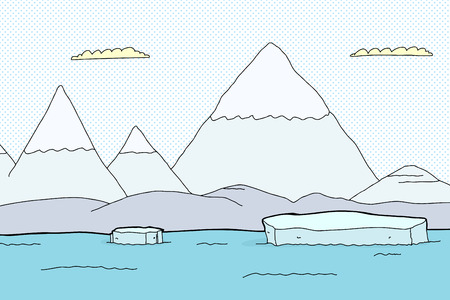 Arctic landscape with mountains and floating iceberg pieces